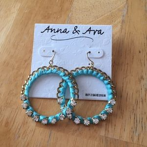 Turquoise thread hoop drop earrings with crystals